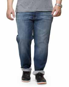 plusS Men Navy Blue Relaxed Fit Mid-Rise Clean Look Jeans