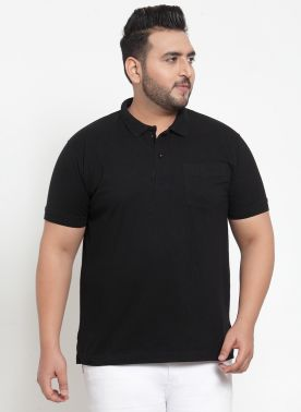 plusS Men Black  Polo T-shirt
