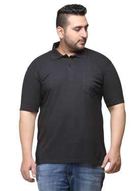plusS Men Black  Polo T-shirt