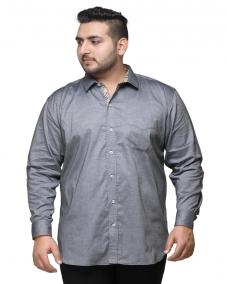 Men Grey Regular Fit Self-Design Formal Shirt