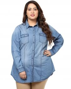 PlusS Women Blue Embellished Solid Denim Casual Shirt