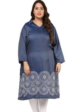 PlusS Blue Embroidered Denim Kurta