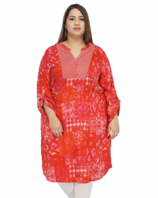 Orange Prt Long Kurti with Yoke embriodery