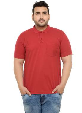 PlusS Men Red Polo T-shirt