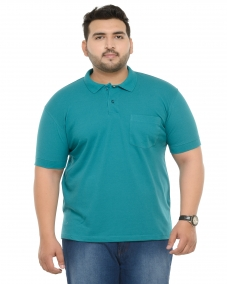 PlusS Men Green Polo T-shirt