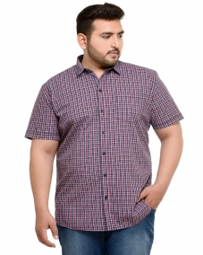 PlusS Navy & Red Regular Fit Checked Casual Shirt