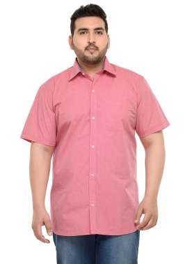 PlusS Men Red Regular Fit Solid Formal Shirt