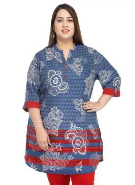 PlusS Women Blue Printed Straight Kurta