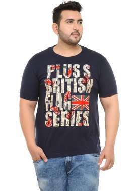 plusS Men Navy Blue Printed Round Neck T-shirt