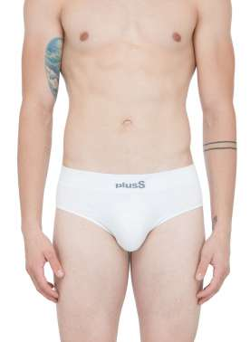 plusS Men White Solid Briefs