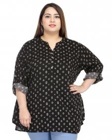 plusS Black & White Printed Polyester Tunic
