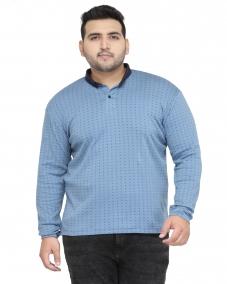 plusS Men Blue Printed Polo Collar T-shirt