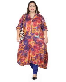 plusS Burgundy Printed Kurta