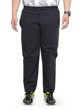 plusS Men Black Straight Fit Track Pants