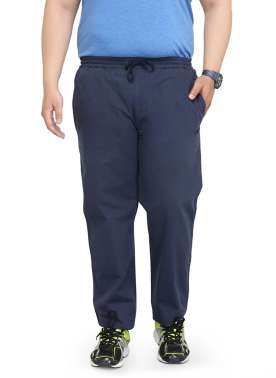 plusS Men Navy Blue Straight Fit Track Pants