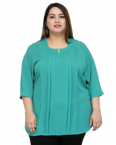 plusS Women Teal Green Solid Top