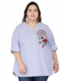 plusS Women Blue & White Striped Shirt Style Top