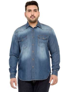 plusS Men Blue Regular Fit Solid Denim Casual Shirt