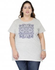 plusS Women Grey Printed Round Neck T-shirt