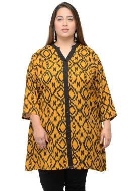 plusS Women Yellow & Black Printed Tunic