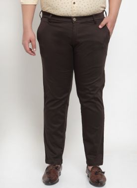 plusS Men Brown Regular Fit Chino Trousers