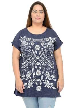plusS Women Blue Printed  T-shirt