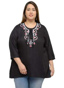 plusS Black Embroidered Top