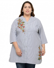 plusS Women Black & White Striped Straight Kurta