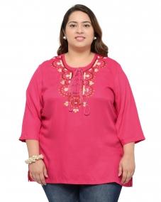 Pink Viscose Embroidered Straight Kurti