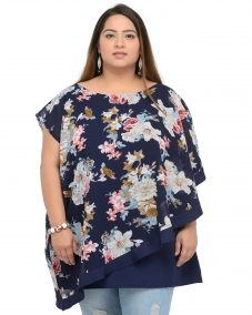 plusS Women Blue & Grey Printed Layered A-Line Top