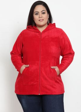 plusS Women Red Solid Hooded Sweatshirt