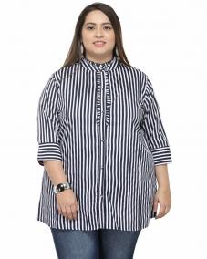 plusS Women Navy Blue & White Striped Casual Shirt