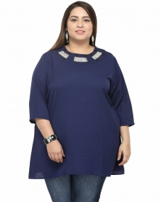 plusS Women Navy Blue Solid Top