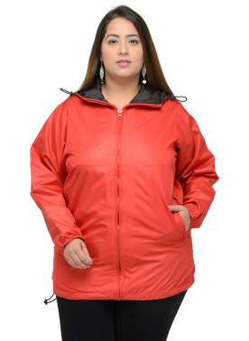 plusS Women Red Solid Windcheater Jacket