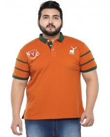 plusS Men Orange Printed Polo T-Shirt