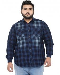 plusS Men Denim Comfort Fit Checked Casual Shirt
