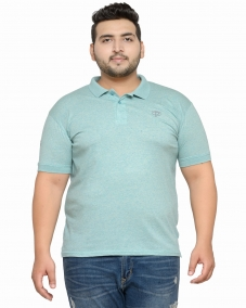 plusS Men Green Solid Polo Collar T-shirt