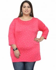 plusS Women Orange Round Neck T-shirt