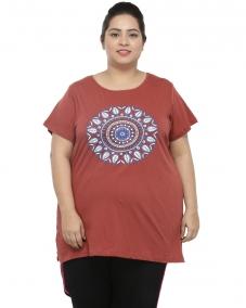 plusS Women Rust Printed Round Neck T-shirt