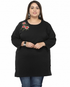 plusS Women Black Embroidered Top