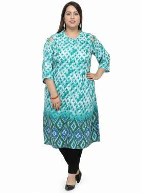 plusS Women Green & Blue Printed A-Line Tunic
