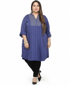 plusS Women Blue & White Printed A-Line Kurta