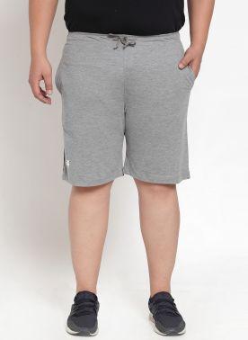 plusS Men Grey Solid Slim Fit Regular Shorts