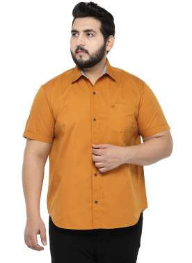 plusS Men Mustard Comfort Fit Solid Casual Shirt