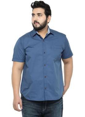 plusS Men Blue Comfort Fit Solid Casual Shirt