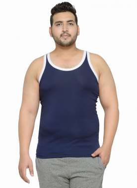 Navy Sando With White Contrast