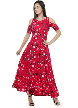 Red Flower prt Off Shoulder Dress