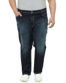 plusS Men Navy Blue Regular Fit High-Rise Clean Look Jeans
