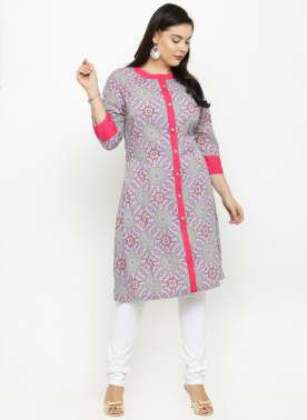 PLUSS MULTICOLOURED PRINTED KURTA
