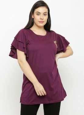 plusS Women Purple Round Neck T-shirt